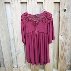 AEO small boho tunic lace dress, 3/4 sleeves
